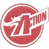 Action-Button, rot mit Silberglitter-Effekt, Actionhero-Serie
