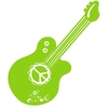 LOVE-Gitarre, lime, Love & Peace, Velours-Motiv