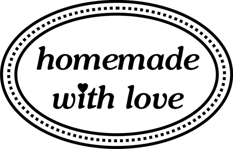 Homemade with love - oval, Stempel