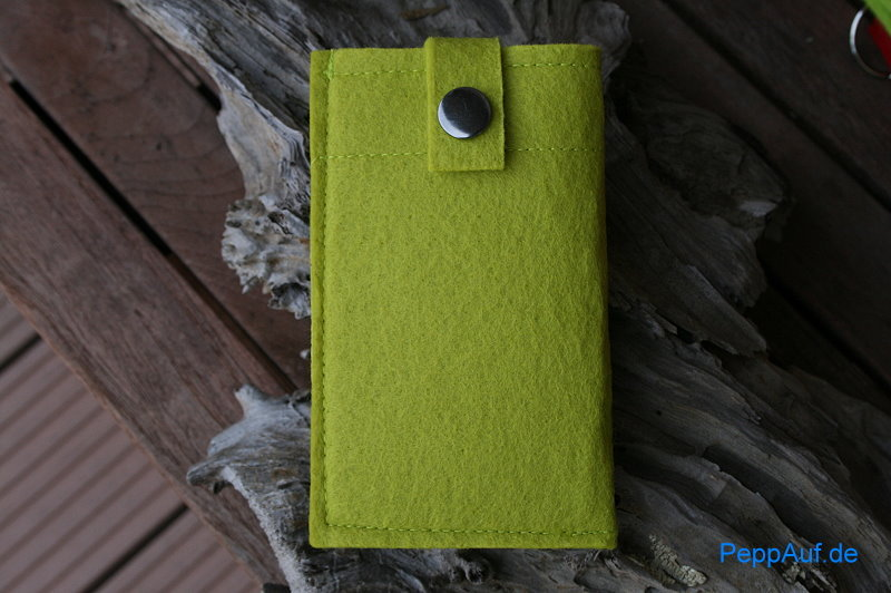 smartphone handy tasche 140x80mm aus filz apfelgr n. Black Bedroom Furniture Sets. Home Design Ideas