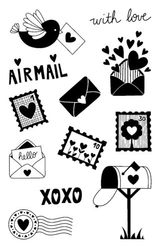 "Transparentes Stempelset ""Airmail with love"", 140 x 90 mm"