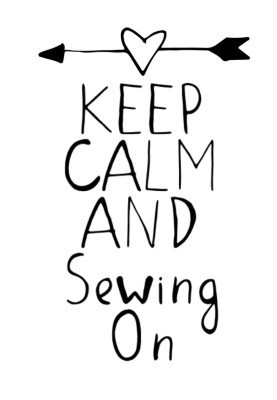 "Holz - Stempel ""Keep Calm and sewing on"", 50 x 35 mm"